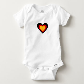 German/Germany flag-inspired Hearts Baby Onesie