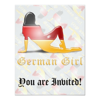 "German Girl Silhouette Flag 4.25"" X 5.5"" Invitation Card"