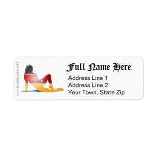 German Girl Silhouette Flag Return Address Label