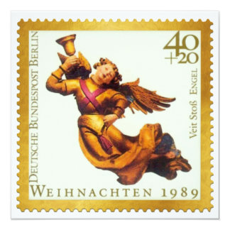 German Gold Stamp Christmas Card: Angel with Horn 13 Cm X 13 Cm Square Invitation Card
