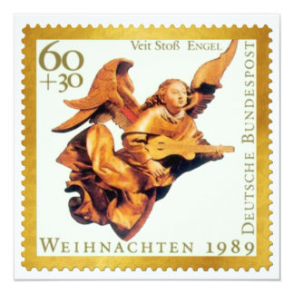 German Gold Stamp Christmas Card: Angel with Lute 13 Cm X 13 Cm Square Invitation Card