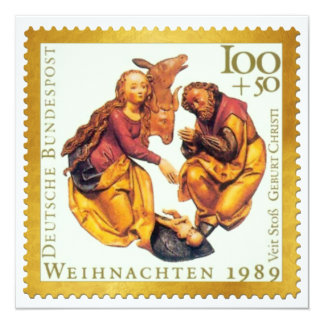 German Gold Stamp Christmas Card: Mary & Joseph 13 Cm X 13 Cm Square Invitation Card