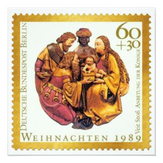 German Gold Stamp Christmas Card: The Magi 13 Cm X 13 Cm Square Invitation Card