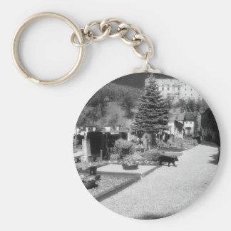 German Graveyard with black cat walking through. Basic Round Button Key Ring