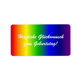 German Happy Birthday Rainbow Colors Label