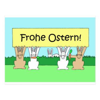 German Happy Easter Bunnies Postcard