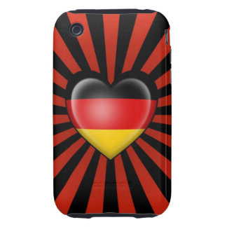 German Heart Flag with Star Burst iPhone 3 Tough Cover