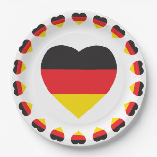GERMAN HEART SHAPE FLAG 9 INCH PAPER PLATE