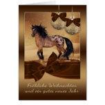 German Horse Christmas Holiday Greeting Card