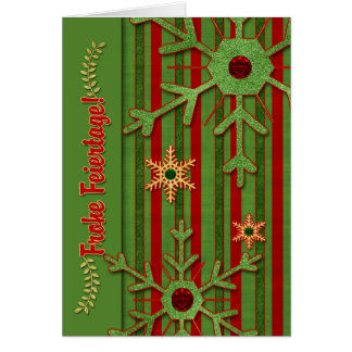 German Language Frohe Feiertage - Red and Green Greeting Card