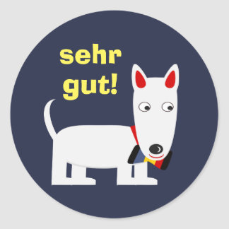 "German Language ""Good Job"" Sticker with Cute Dog"