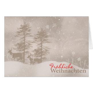 German Language Happy Holidays Stylish Christmas Greeting Card