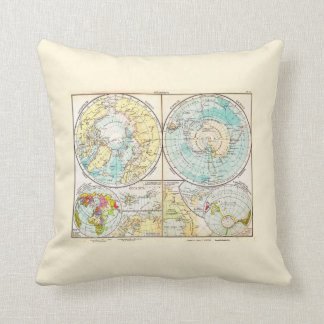German-Language Polar Map Throw Cushions