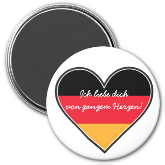 German - Love with All My Heart 7.5 Cm Round Magnet