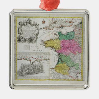 German Map showing English naval attacks on French Christmas Ornament