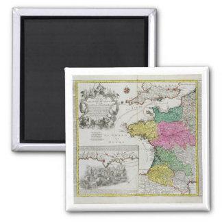 German Map showing English naval attacks on French Fridge Magnet