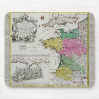German Map showing English naval attacks on French Mouse Mat