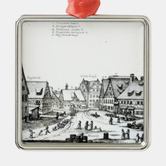 German Market town, 1704 Christmas Ornament