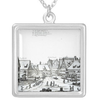 German Market town, 1704 Silver Plated Necklace