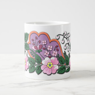German medieval flowers ornament large coffee mug