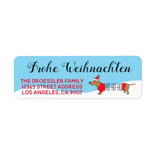 German Merry Christmas Doxie Return Address Label