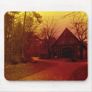 german mystical town house in forest red tint mouse pad