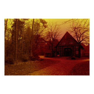 german mystical town house in forest red tint poster