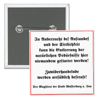 German No Peeing in Public Sign 15 Cm Square Badge