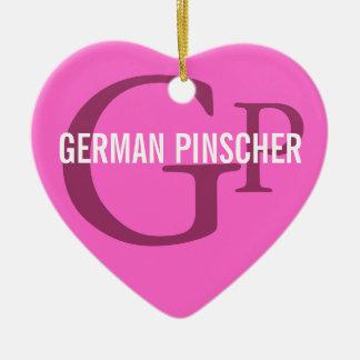 German Pinscher Breed Monogram Ceramic Heart Decoration