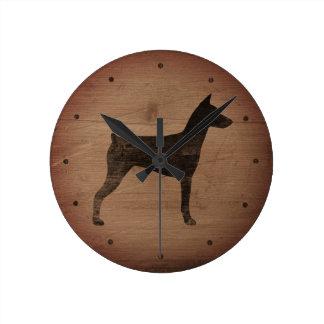 German Pinscher Silhouette Rustic Style Round Clock