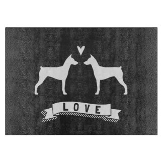 German Pinscher Silhouettes Love Cutting Board