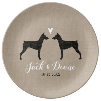 German Pinscher Silhouettes with Heart Porcelain Plates