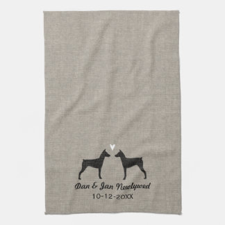 German Pinscher Silhouettes with Heart Tea Towel