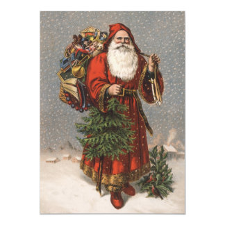 German Santa Christmas Card 13 Cm X 18 Cm Invitation Card