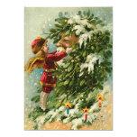 German Santa Fairy Christmas Card 13 Cm X 18 Cm Invitation Card