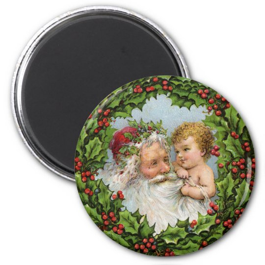 German Santa Magnet for the Holidays - With Child
