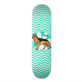 German Shepard; Aqua Green Chevron Skateboards