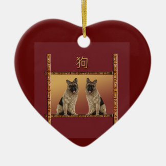 German Shepard Asian Design Chinese New Year, Dog Christmas Ornament