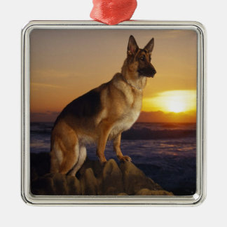 German Shepard At Sunset Christmas Ornament