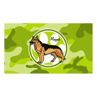 German Shepard bright green camo camouflage Business Card
