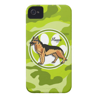 German Shepard bright green camo camouflage iPhone 4 Case-Mate Case