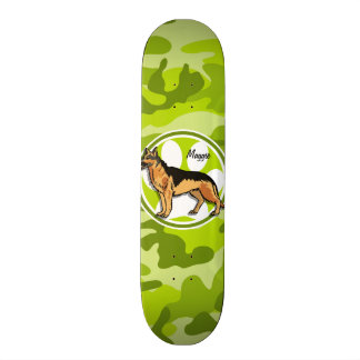 German Shepard; bright green camo, camouflage Skate Board
