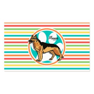 German Shepard Bright Rainbow Stripes Business Card Templates