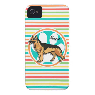 German Shepard Bright Rainbow Stripes iPhone 4 Case-Mate Case