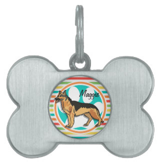 German Shepard; Bright Rainbow Stripes Pet ID Tag