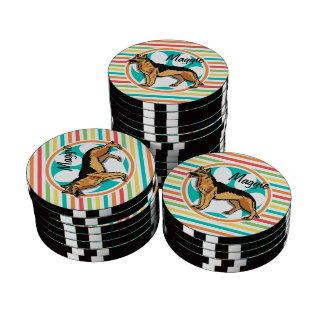 German Shepard; Bright Rainbow Stripes Poker Chips