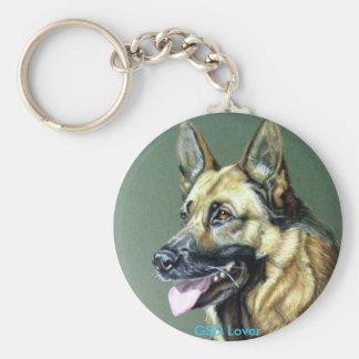 german shepard Dog Basic Round Button Key Ring