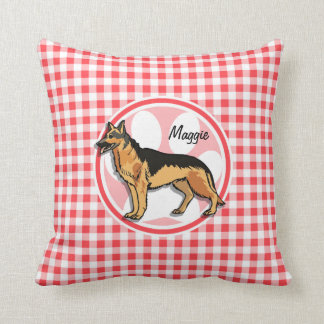 German Shepard; Red and White Gingham Cushion