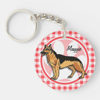 German Shepard; Red and White Gingham Acrylic Key Chain