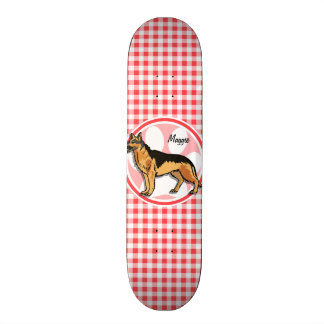German Shepard; Red and White Gingham Skate Boards